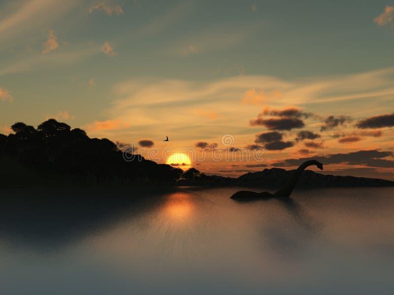 gigantisk nesssilhouette för fjord stock illustrationer