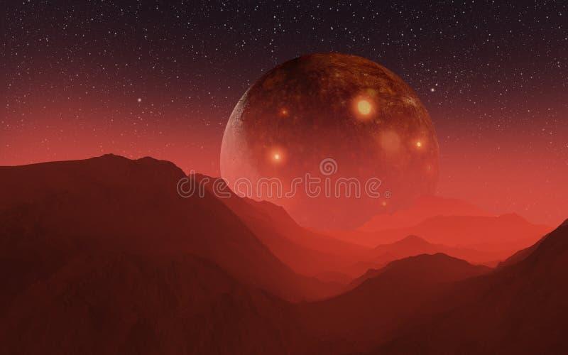 gigantisk satellit för illustration 3D ovanför den orange horisonten arkivfoton