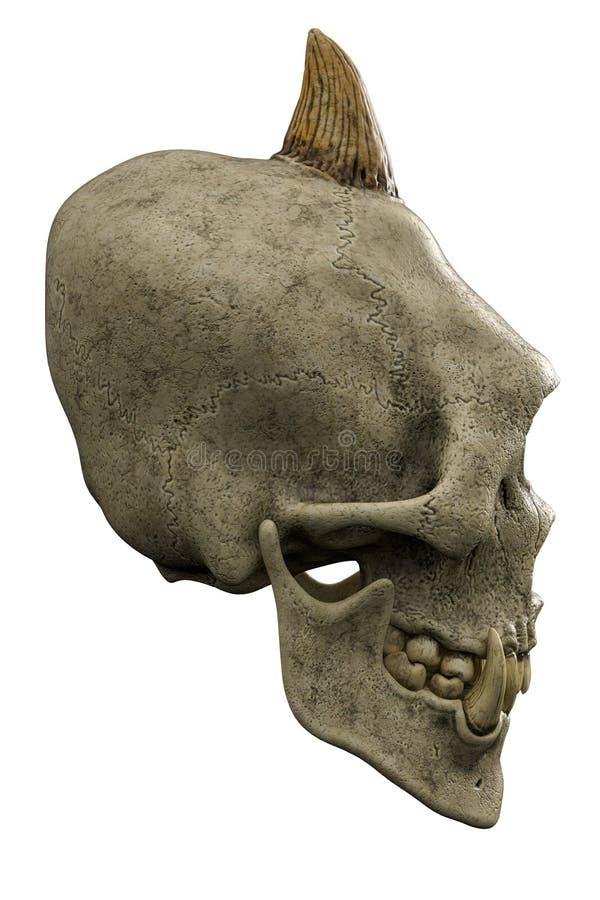 Gigantisk skalle f?r Cyclops i en vit bakgrund royaltyfri illustrationer