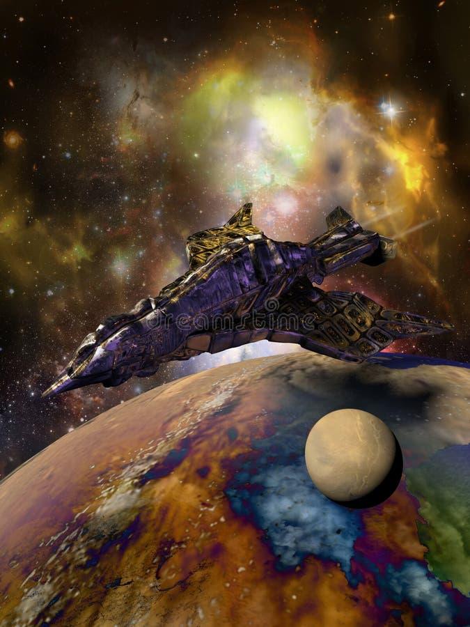 Gigantiskt fågel-format rymdskepp stock illustrationer