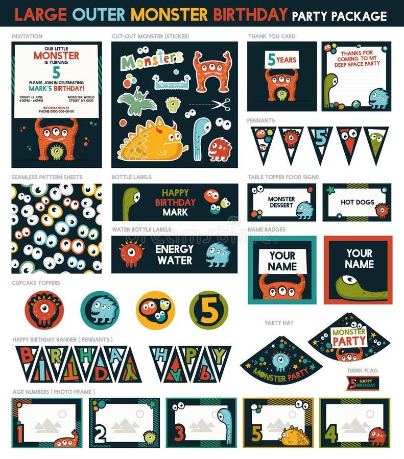 Gigantiskt födelsedagparti stock illustrationer