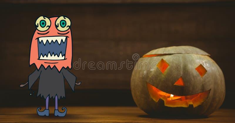 Gigantiskt tecknad filmanseende bredvid halloween pumpa vektor illustrationer
