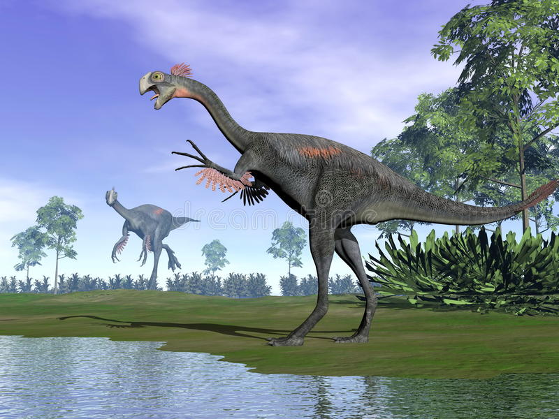 Gigantoraptor dinosaurs in nature - 3D render vector illustration