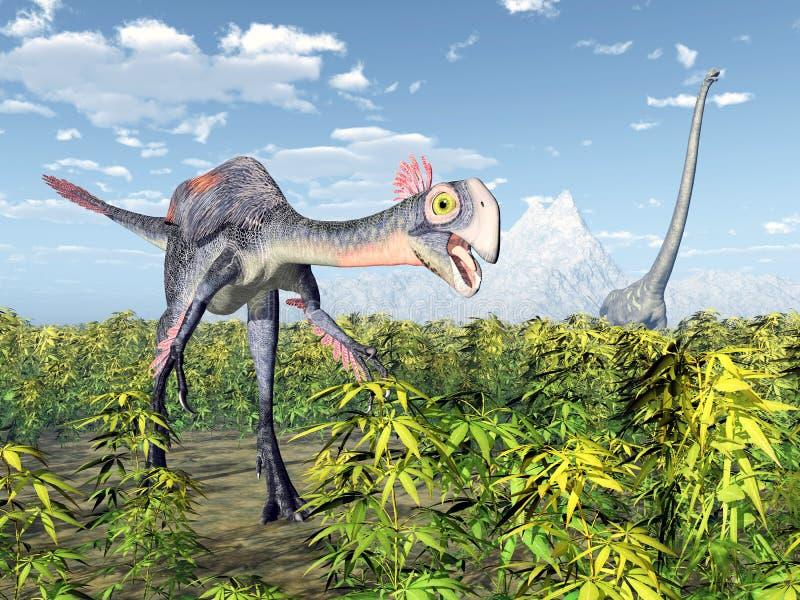 Gigantoraptor et Mamenchisaurus illustration de vecteur