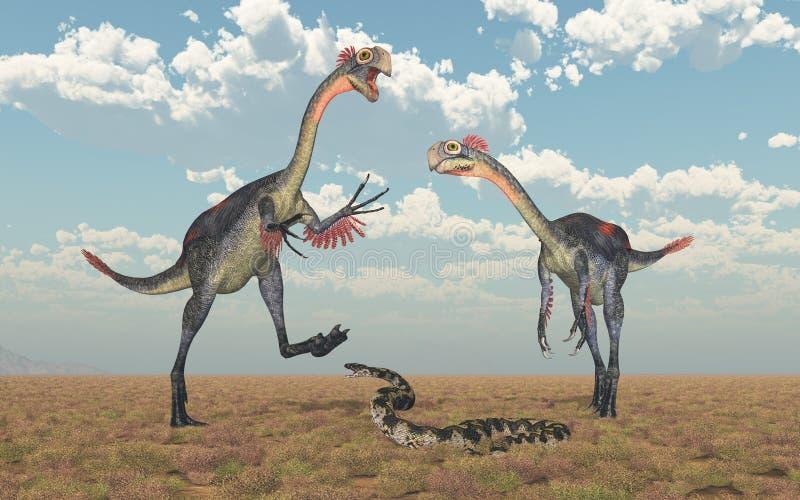 Gigantoraptor et Titanoboa illustration libre de droits