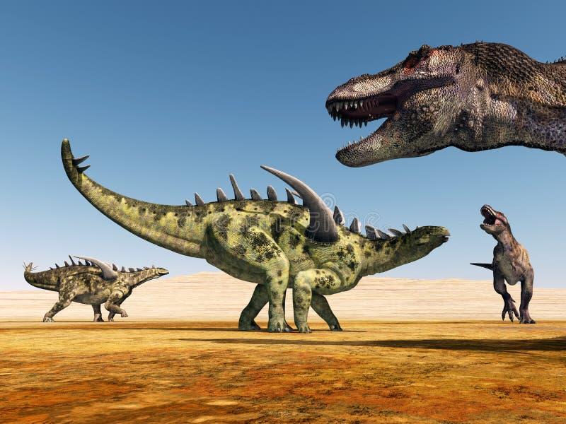 Gigantspinosaurus и тиранозавр Rex иллюстрация штока