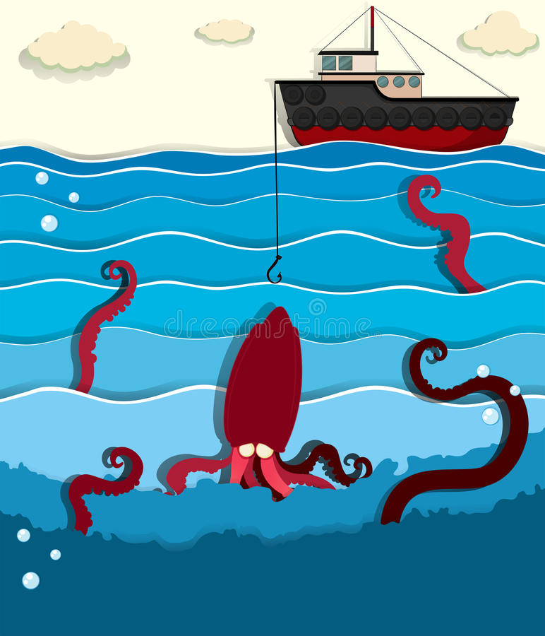 Gigantyczna ośmiornica i łódź rybacka ilustracji