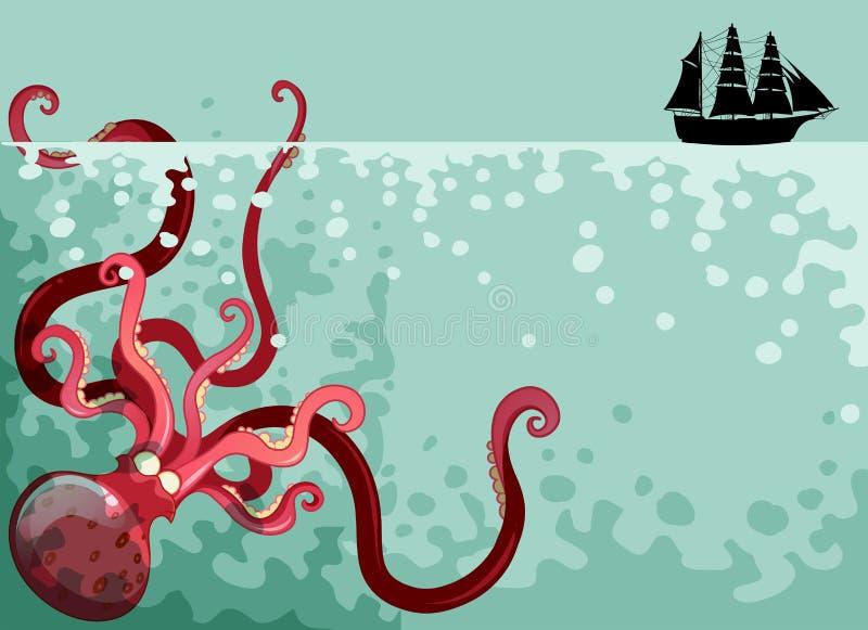 Gigantyczna ośmiornica pod oceanem ilustracja wektor