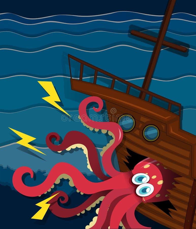 Gigantyczna ośmiornica rozbija statek ilustracji