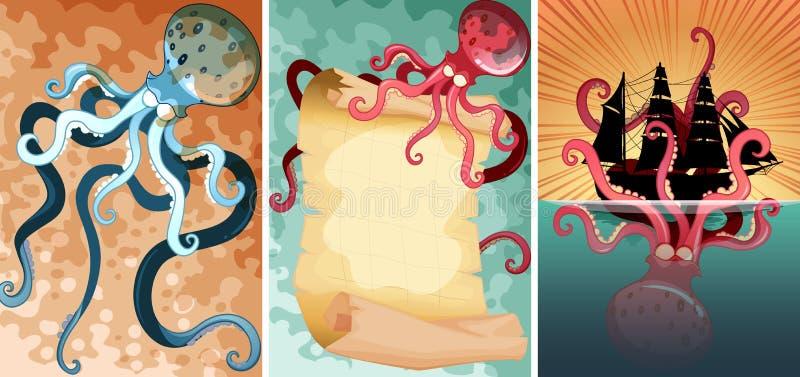 Gigantyczna ośmiornica w trzy różnych scenach royalty ilustracja