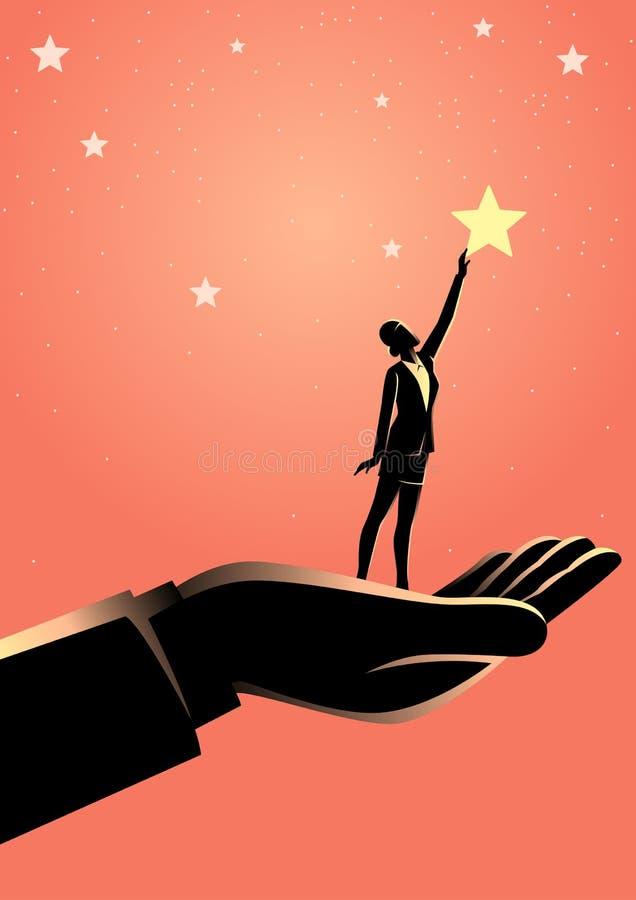 Gigantyczna ręka pomaga biznesowej kobiety dosięgać za gwiazdach dla ilustracji