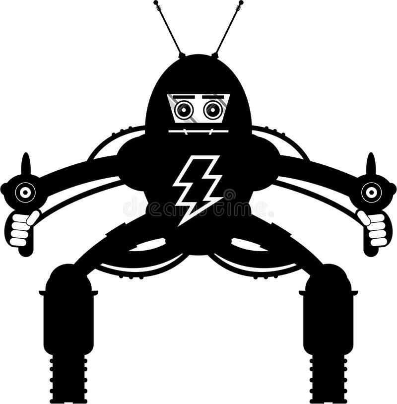 Gigantyczna robot sylwetka ilustracja wektor