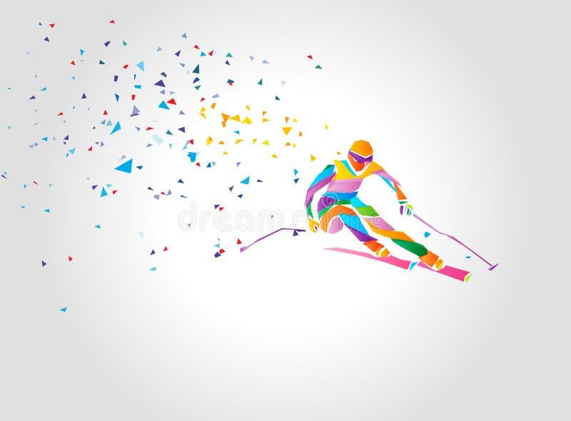 Gigantyczna Slalomowa Narciarska setkarz sylwetka koloru dziewczyny ilustracyjni uroczy królika uśmiechy nadają się biel royalty ilustracja