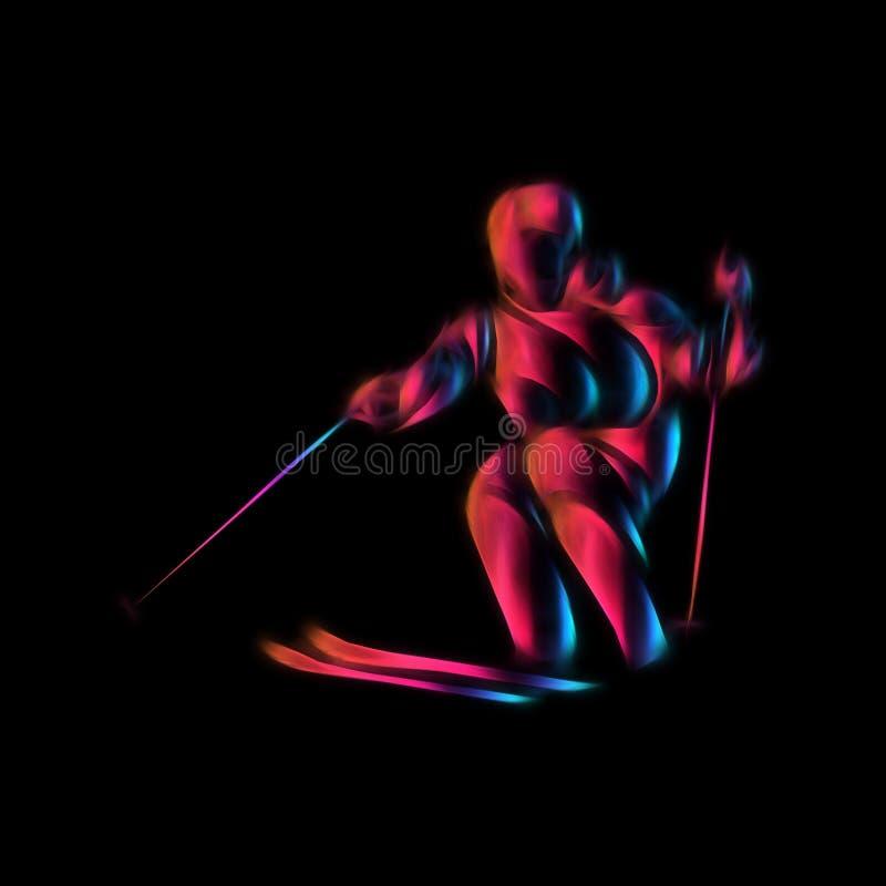 Gigantyczna Slalomowa Narciarska setkarz sylwetka koloru dziewczyny ilustracyjni uroczy królika uśmiechy nadają się biel zdjęcia royalty free