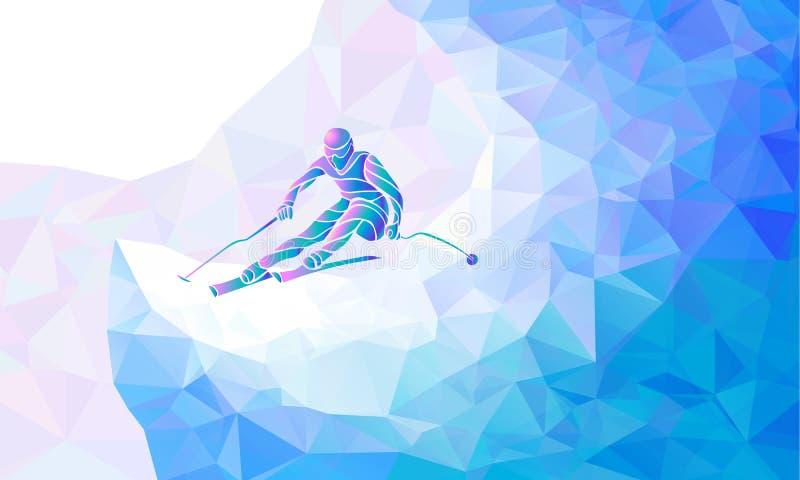 Gigantyczna Slalomowa Narciarska setkarz sylwetka również zwrócić corel ilustracji wektora ilustracja wektor