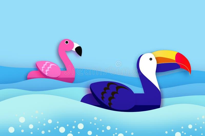 Gigantycznego nadmuchiwanego fantazji menchii pieprzojada i flaminga papieru ci?cie projektuje Origami basenu p?awika zabawki Kry ilustracja wektor