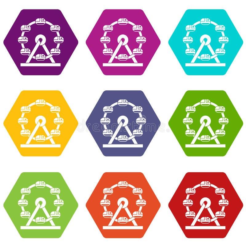 Gigantycznej ferris koła ikony koloru ustalony sześciobok royalty ilustracja