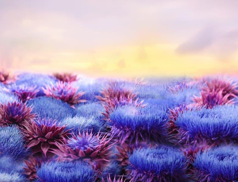 Gigantyczni puszyści bzów kwiaty i niebo Nadrealizm, fantastyczny obrazek fotografia stock