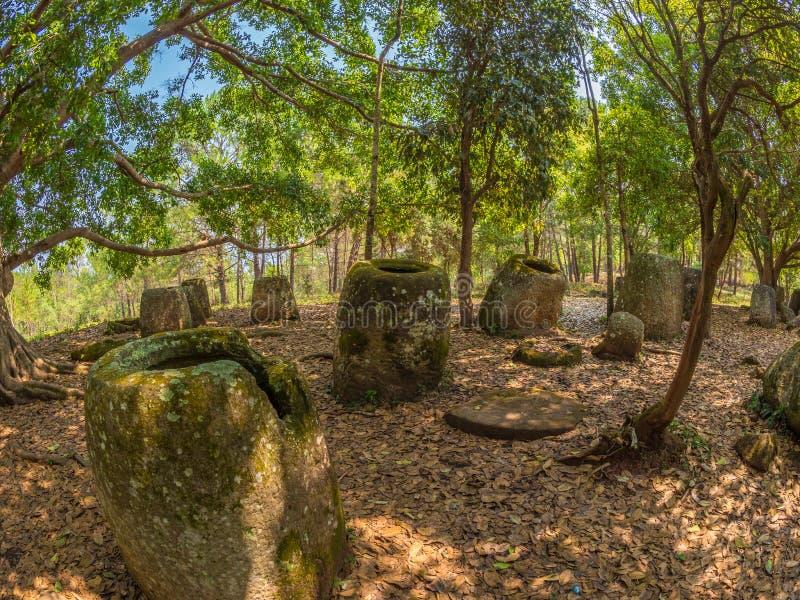 Gigantyczny Żelaznego wieka kamień zgrzyta w lesistej haliźnie Xiangkhoang plateau, zdjęcia stock