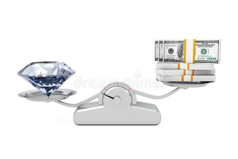 Gigantyczny diament z pieniądze równoważeniem na Prostej Ważącej skala ilustracja wektor