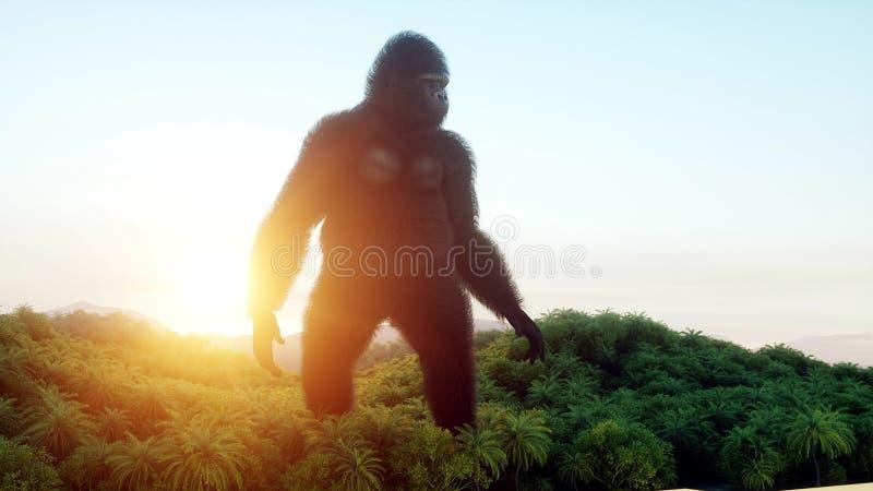 Gigantyczny goryl i helikopter w dżungli Prehistoryczny zwierzę i potwór Realistyczny futerko świadczenia 3 d ilustracja wektor