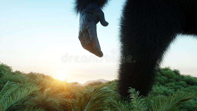 Gigantyczny goryl i helikopter w dżungli Prehistoryczny zwierzę i potwór Realistyczny futerko świadczenia 3 d ilustracji