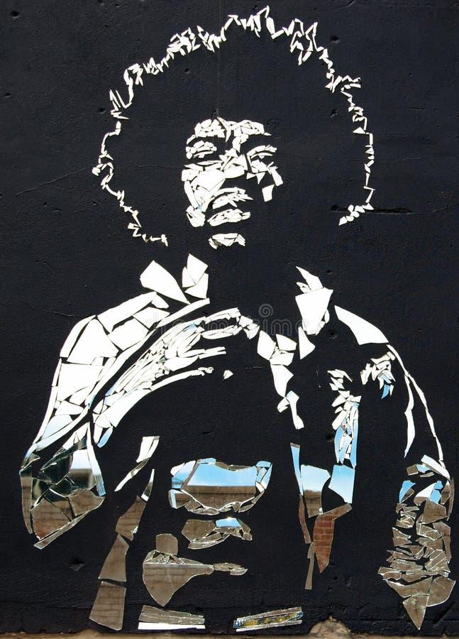Jimi Hendrix łamający lustra obrazy stock