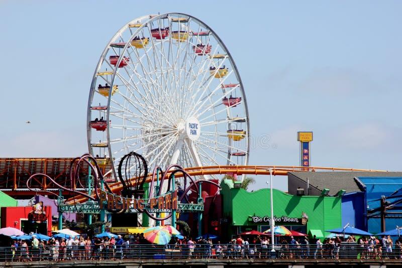 Gigantyczny koło, Snata Monica plaża i Pacyfik park, Kalifornia zdjęcie royalty free