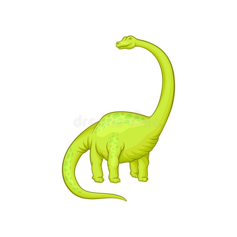 Gigantyczny mamenchisaurus z długą szyją, ogonem i krótkimi łapami, Postać z kreskówki zielony dinosaur stworzenie prehistoryczna royalty ilustracja