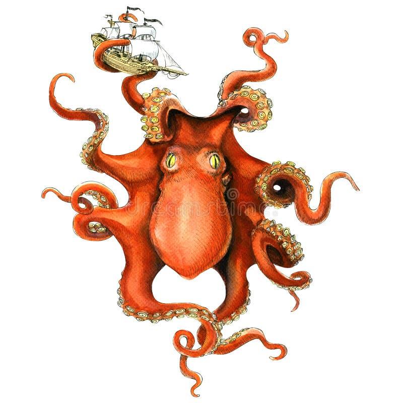 Gigantyczny ośmiornica ocean catched żagla statek, akwareli ilustracja royalty ilustracja