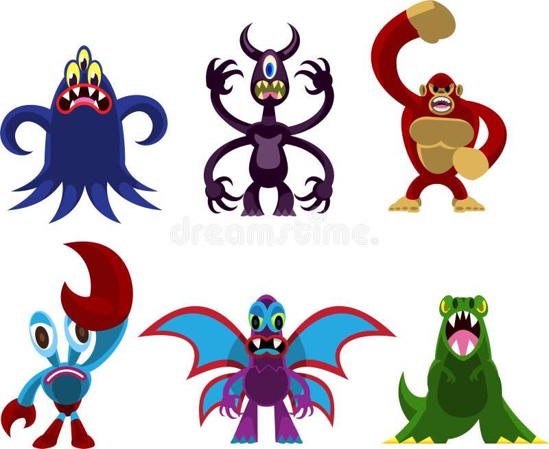 Gigantyczny potwór kreskówki set royalty ilustracja