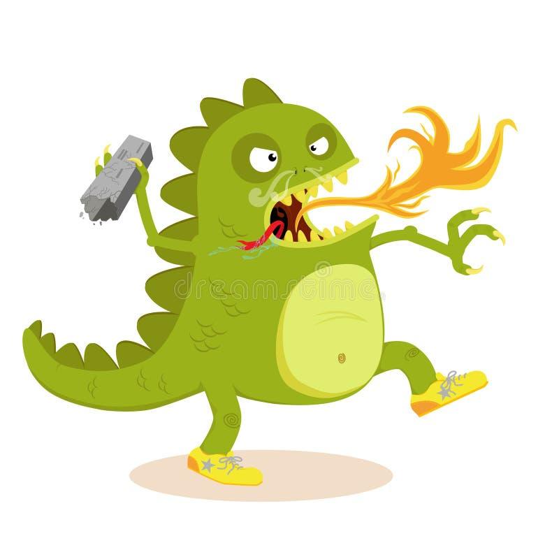 Gigantyczny potwór w kreskówce ilustracja wektor
