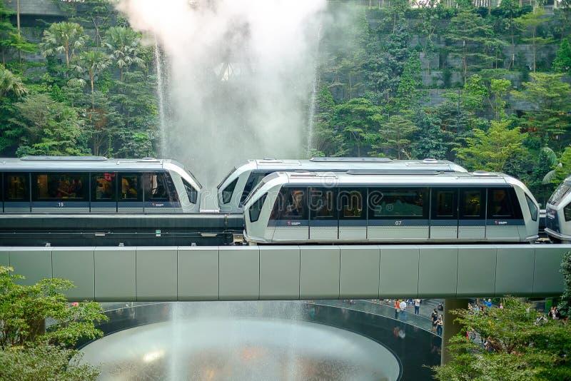 Gigantyczny wodny spadek HSBC Pada Vortex i pięknej zielonej natury Shiseido Lasową dolinę w Biżuteryjnym Changi lotnisku, połącz obrazy stock