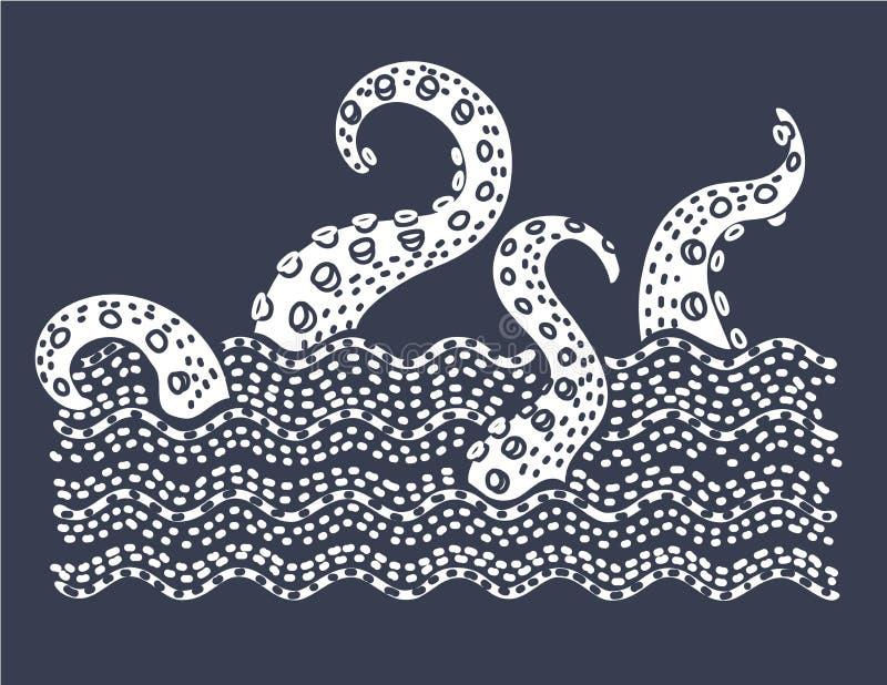 Gigantyczny zło kraken absorbuje handlowego żeglowanie statek, sylwetki ośmiornicy denny potwór z czułkami royalty ilustracja