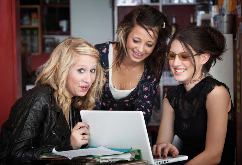 Giggling College Girls stock photography