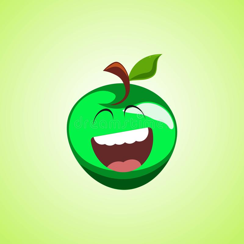 Giggling to tears green apple Cartoon Character. Cute laughing apple icon isolated on green background stock illustration