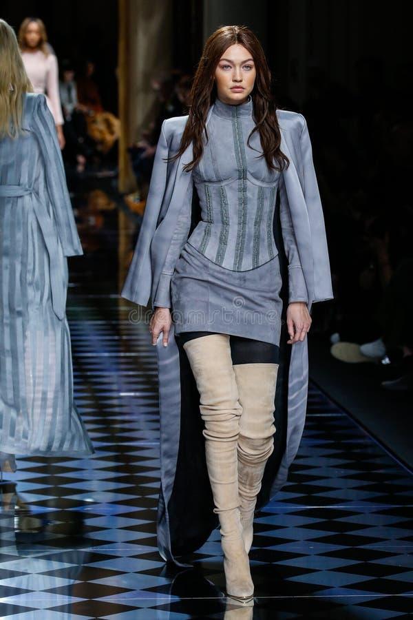 Gigi Hadid walks the runway during the Balmain show royalty free stock photography