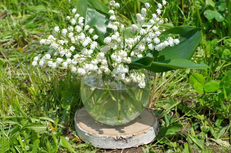 Gigli di maggio in un vaso di vetro immagine stock