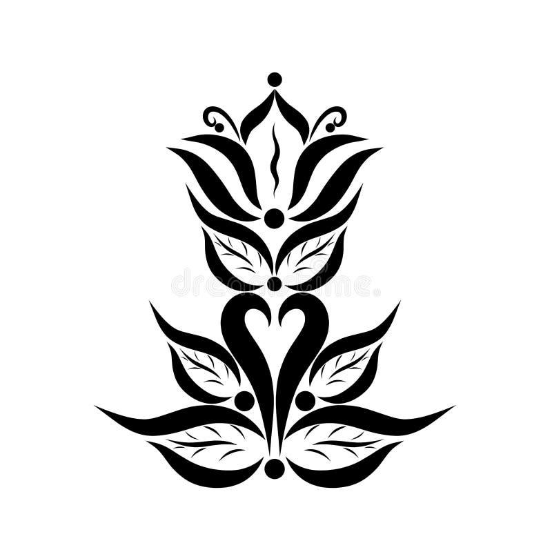 Giglio, cuore e fogliame, modello elegante nero illustrazione vettoriale