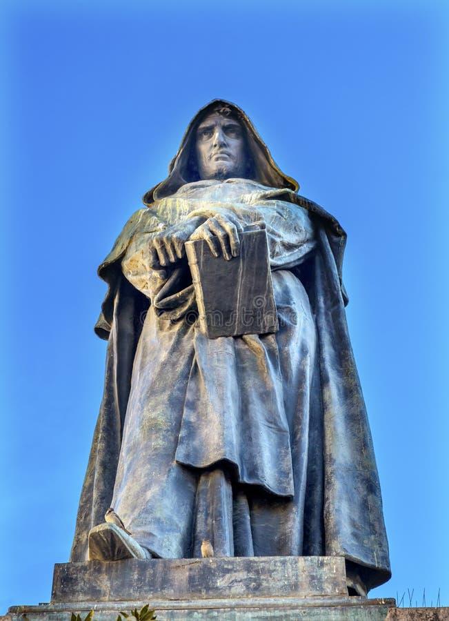 Giiordano Bruno Statue Campo de& x27; Fiori Rome Italië stock foto