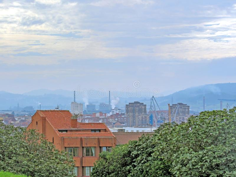 View on Gijon, Asturias Camino del Norte, the Northern Way of Saint James in Spain royalty free stock image