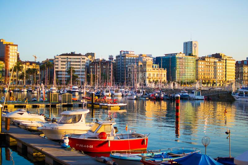 Gijon, Asturias, Spain; 09/26/2018: View of the dock of Gijon, Asturias, Spain, with reflections in the water, in Cimadevilla, the stock image