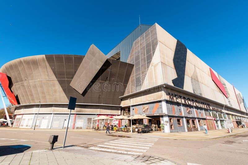 Gijon, Espanha - 19 de novembro de 2018: O estádio do EL Molinon é o estádio de ostentar o clube do futebol do de Gijon fotos de stock