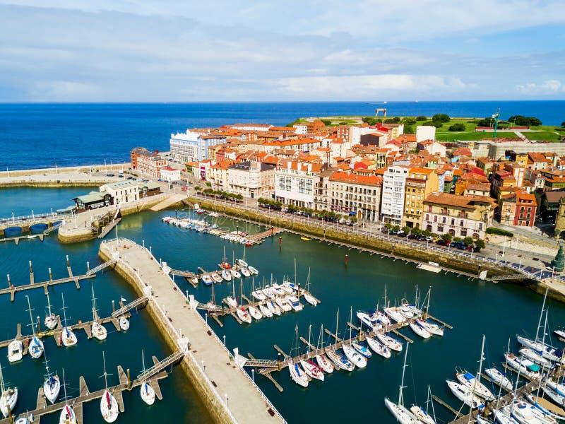 Gijon miasta marina w Asturias, Hiszpania zdjęcie royalty free