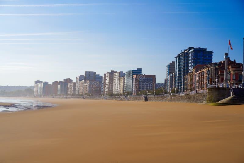 Gijon playa San Lorenzo beach Asturias Spain. Gijon playa San Lorenzo beach in Asturias Spain royalty free stock photography