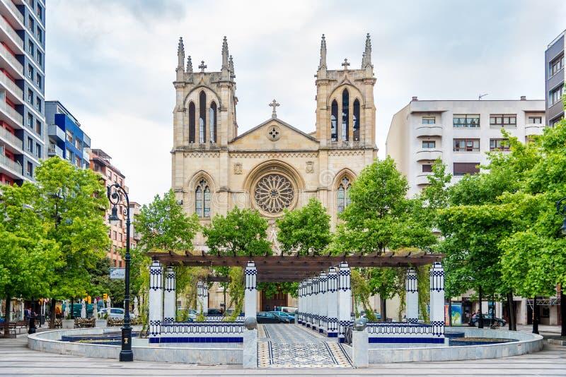 View at the San Lorenzo Martir church in Gijon - Spain royalty free stock photo
