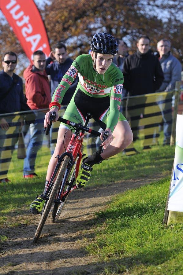 GIJON, SPANIEN - 9. JANUAR: Cyclocross-Meisterschaften Spanien in Janu lizenzfreies stockfoto
