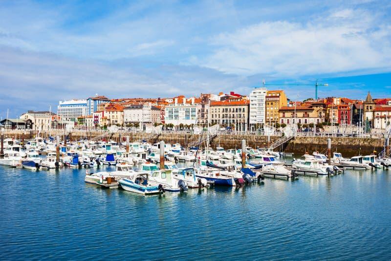 Gijon stadsjachthaven in Asturias, Spanje royalty-vrije stock foto
