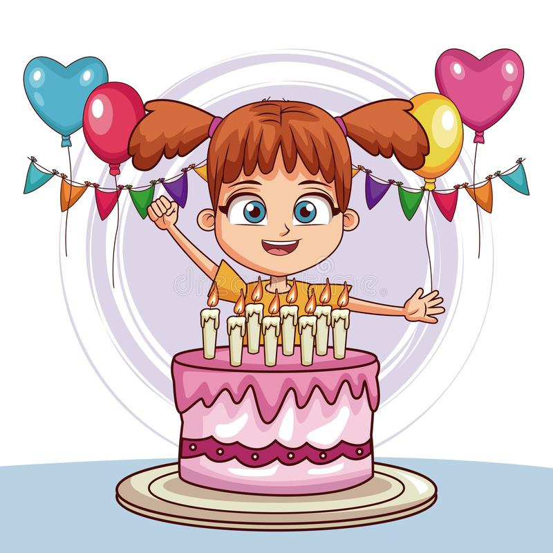 Gil with birthday cake and ballons. Vector illustration graphic design vector illustration