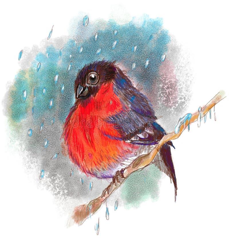 gil Odwilż w zimy drewnie ilustracji